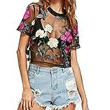 Aelegant Damen Sommer Vintage Transparent Top Netz Shirt Tüll Kurzarm Tunika Mesh Durchsichtiges Oberteil mit Rose Stickerei Clubwear