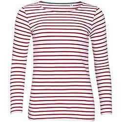 SOLS - Camiseta de manga larga con estampado de rayas modelo Marine para mujer (Extra Grande (XL)/Blanco/Rojo)