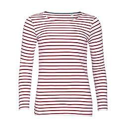 Sols Damen Marine T-Shirt, gestreift, langärmlig (L) (Weiß/Rot)
