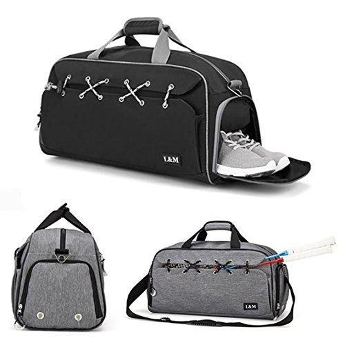 TENGGO Outdoor-Sportgymnastik-Tasche Multifunktion Fitness-Schultertasche mit Schuhen Pocket Travel Yoga Handtasche-Schwarz