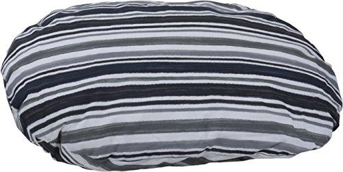 Kissen für Hunde Oval 100 x 70 cm Gestreift Grau weiß Schwarz Hundekissen