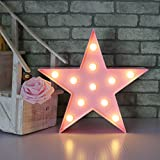 Letters Light Star Shape LED Night Light Marquee Light Battery Operated LED Night Lamp for Home Christmas Decoration-Pink