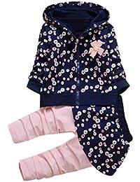 Ropa Bebé, Amlaiworld Trajes de niña Camisas de abrigo con capucha + pantalón falda ropa conjunto 0-3 Años