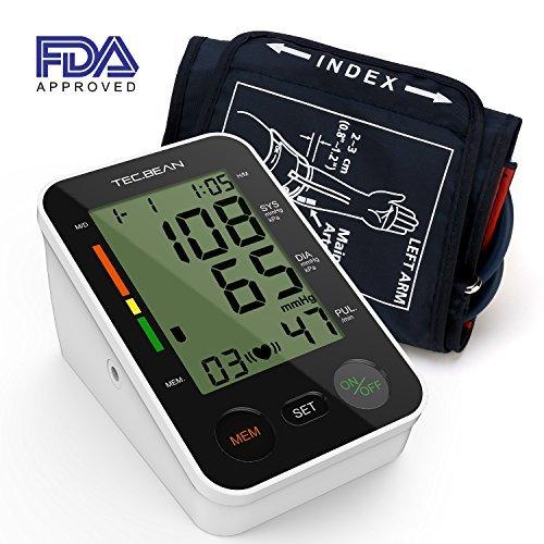 TEC.BEAN Tensiómetro de Brazo Monitor de presión arterial digital automático para el brazo superior con detección y almacenamiento de frecuencia cardiaca para 2 usuarios, certificado por la FDA
