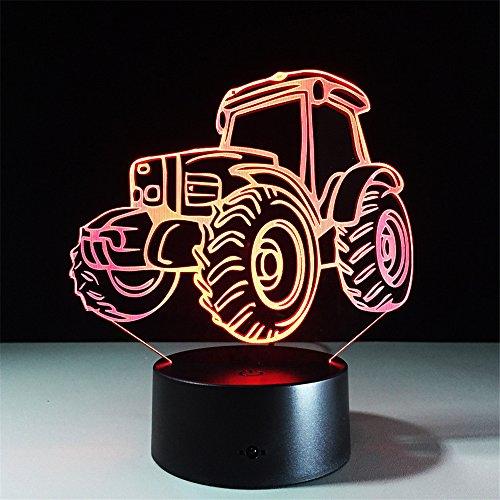 3D Nightlights, 7 Farben ändern Touch Control Nacht Lampe, bestes Geschenk für Freunde Kinder (Traktor)