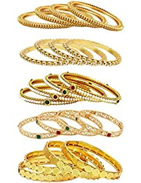 Aabhu Fancy Design Antique Gold Plated Bangle Kada Bracelet Set Jewellery Combo Of 10 Pair For Women Girl
