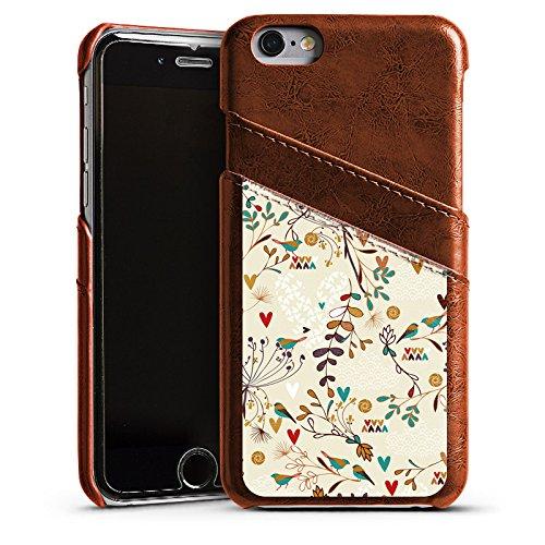 Apple iPhone 4 Housse Étui Silicone Coque Protection Fleur Rétro Oiseaux Étui en cuir marron
