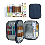 Jamisonme Ergonomic 67pcs Crochet Hook Set with Ergonomic Handles,Soft Grip Crochets and Complete Accessories with Double Zipper Case for Beginner-Extreme Comfort