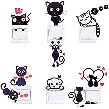 HopMore Pegatinas 8 Piezas Lindo Gato Perro, Stickers para Infantil, Decorativa Pegatina para Pared Maleta Macbook Laptop Snowboard Equipaje Coche de la bici Tabla iPhone