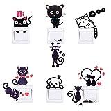 HopMore [ 6 pezzi ] Adesivi Muro Wall Stickers per Camera da Letto / Cucina / Kitchen / Bedroom - Gatto + Cane