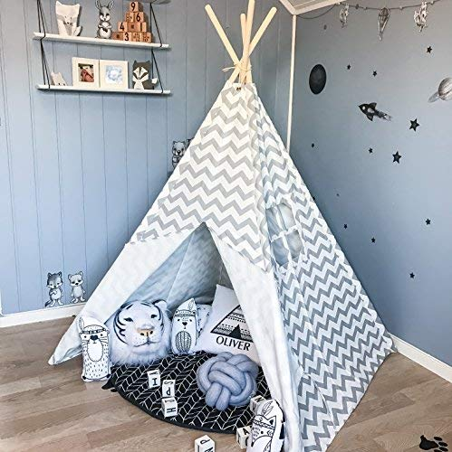 Tiny Land Tipi Kinderzimmer Spielzelt für Kinder drinnen draußen - Segeltuch Kinderzelt Indianer (Grauer Chevron 150cm Hoch )