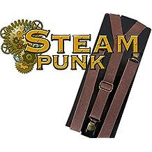 """Hosenträger """"Lederoptik"""" mit goldfarbenen Schnallen und Clips, unisex, Hosenheber, Hochträger, steampunk, steampunkkostüm"""