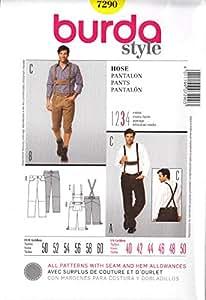 Patron de couture Burda Homme 7290–pour Homme, genou équitation pour femme & bretelles Tailles: 40–50