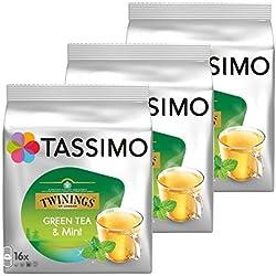 Tassimo Tea Twinings Thé Vert à la Menthe 16 dosettes - Paquet de 3 (48 Boissons)