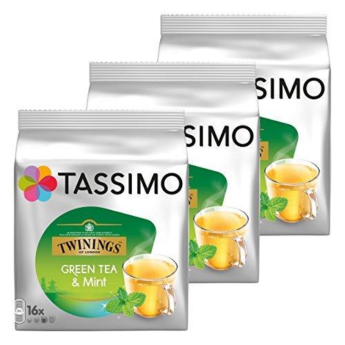 Tassimo Twinings Tè Verde con Aroma Naturale alla Menta Capsule Pacco da 3, 3 x 16 T-Discs