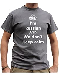 Nutees I'm Russian And We Don't Keep Calm Funny Mens T Shirt - Charcoal Grey