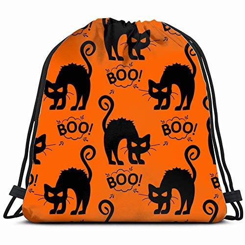 DHNKW Halloween cat Pattern Girls Special Backpack Sack Bag Gym Bag for Men & Women 17X14 Inch