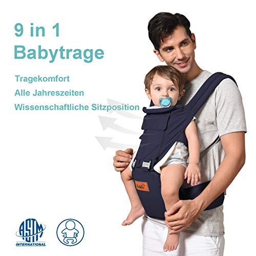 Bable Porte Bébé 9 en 1 Porte Bebe Ventral et Dorsale Porte-bébé Ergonomique- Respirants et Confortables en Toute Saison Bable