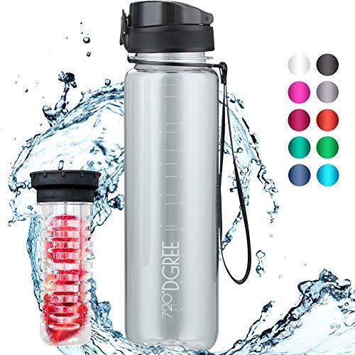 """720°DGREE Trinkflasche \""""uberBottle\"""" - 1 Liter, 1000 ml, Weiß - Neuartige, Durchsichtige Tritan Wasser-Flasche Water Bottle - Ideal für Kinder, Fitness, Gym, Fitnessstudio, Fahrrad, Sport, Fussball"""