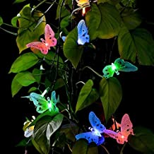 Bulfyss Solar Powered String Lights Decorative Multi-color Beautiful Butterfly Design Light 9 Led for Garden, Lawn, Patio, Wedding, Party, Bedroom, Diwali, Christmas tree, Outdoor Decoration