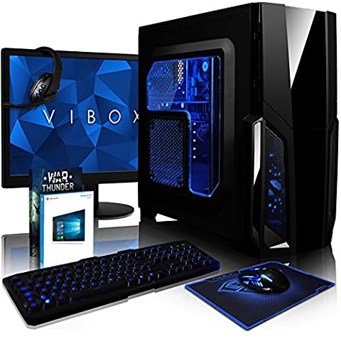 VIBOX Pyro GS650-28 Pack PC Gamer - 3,9GHz AMD FX 6-Core CPU, GPU GTX 1050, Avancée, Multimédia, Haute Performance, Pascal, Ordinateur PC de Bureau Gaming paquet de jeux, avec Écran, Windows 10, Éclairage Interne Bleu (3,3GHz (3,9GHz Turbo) Processeur CPU Six 6-Core AMD FX 6100 Ultra Rapide, Carte Graphique Avancée Nvidia GeForce GTX 1050 2 Go, 8 Go Mémoire RAM DDR3 1600MHz Grande Vitesse, Disque Dur Sata III 7200rpm 2 To (2000 Go), PSU 85+, Boîtier Gamer CIT Storm Bleu)