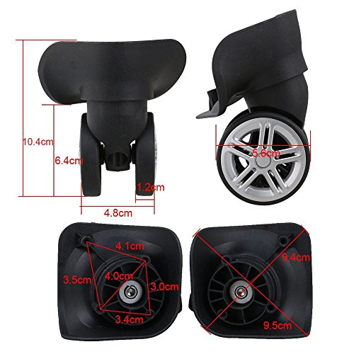 glvanc, schwarz 10,4x 9,5x 5,6cm links & rechts Kunststoff Lenkrolle Räder Ersatz DIY für Gepäck Koffer Trolley W/8Schrauben, 2Stück (Spinner-rad-gepäck)