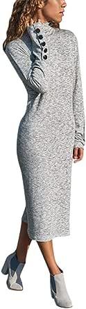 TIFIY Donna Vestito Abito a Tinta Unita con Bottoni a Manica Lunga Casual da Donna Abito Midi Vestito Aderente t-Shirt Vintage Casual Mini Dress