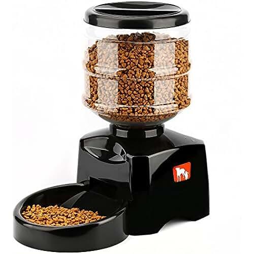 regalos kawaii gato ICOCO Comedero Automático para Perros, Gatos y Mascotas, Dispensador de Comidas, Grabación de Mensajes de Voz, Temporizador Programable con Pantalla LCD 5.5L - Negro