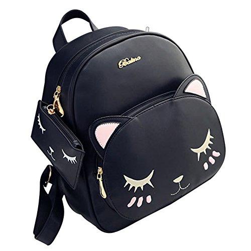 Mädchen Damen Handtasche Rucksack Totes Schulterriemen Schule Messenger Bag PU Künstliche Leder Schwarz