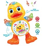 #2: YIJUN Dancing Duck Toy with Real Dancing Action & Music Flashing Lights, Multi Color