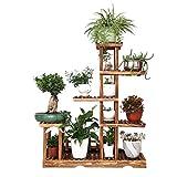 WODO Hölzerne Anzeigen-Pflanzenregale, Innengarten-Blumen-Stand Im Freien, Stehende Speicher-Regal-Einheiten, 5-Tier, Pflanzentreppe, 95 X 25 X 115 cm, Brown