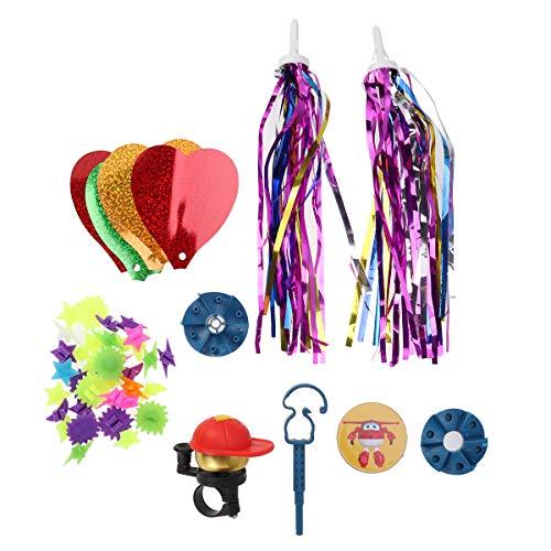 LIOOBO 4 STÜCK Kinder Roller Zubehör Bunte Perlen Daumenglocke Kleine Windmühle Mischfarbe Band Fahrradträger Teile (Zufällige Farbe)