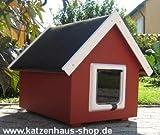 Katzenhaus / Katzenhütte wetterfest für draußen mit Katzenklappe und VOLLSOLIERUNG, Spitzdach, Farbe schwedenrot