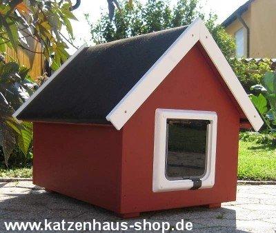 Katzenhaus / Katzenhütte wetterfest für draußen mit Katzenklappe, Spitzdach, Farbe schwedenrot