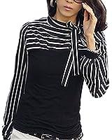 ZANZEA Damenbluse Stehkragen Blus T-shirt Hemd Streifen Shirt TOP Gr.S-4XL