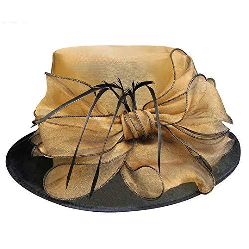 OLADO Frauen-Kleidhüte-breiter Rand-Sun-Hut-Kirchen-Hochzeits-Teeparty Kentucky Derby formales Fedoras