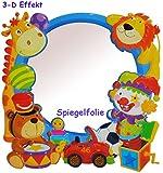 """3-D Effekt _ Kinder Spiegel / Wandspiegel mit Spiegelfolie - """" Spielzeug / Tiere - Auto """" - selbstklebend & wiederverwendbar - als Wandsticker / Wandtattoo - Pop Up - Kinderzimmer - die Wand - Baby / Babyspiegel - Spiegelaufkleber - Mädchen & Jungen - Kinderzimmerspiegel - Figur / Kinderspiegel - Baby-Spiegel / Fliesenspiegel - Kinderspielzeug - Giraffen - Clown / Autos - Fahrzeuge - Wandbild"""