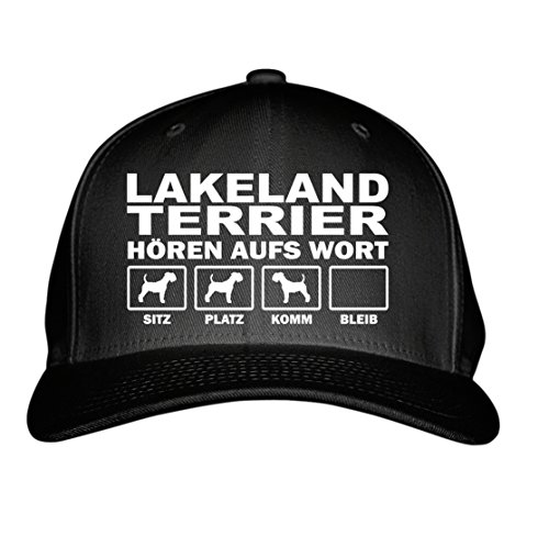 SIVIWONDER CAP - LAKELAND TERRIER Jagd Jagdhund - HÖREN aufs WORT - Baumwoll 6-Panel schwarz Lakeland Cap