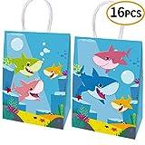 Happy Shark Family Party Borse, dolcetti, Caramelle e Borse Goodie, Borse Regalo squalo Articoli per Feste per Bambini Cute Shark Tema Party Set di 16 Pacchetti (2 Disegni)