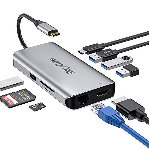 Excuty 9 in 1 USB C HUB to HDMI & RJ45, Thunderbolt 3, USB C Power Delivery, SD and Micro SD/TF Card Reader, 4 USB 3.0 Ports - Sd-card-reader Für Hdmi
