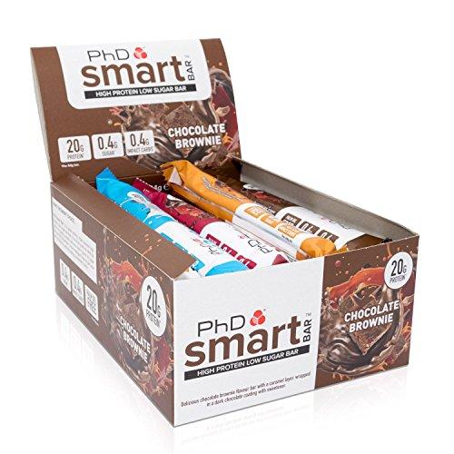 PhD Nutrition Smart Bar Mix Box, 15 x 64g, MINDESTENS 5 verschiedene Geschmäcker, Crunchy & Lecker, Eiweissriegel mit 20g Eiweiß, der perfekte Snack, High Protein & Low Sugar