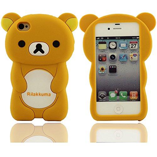 Creative Design rilakkuma Motif dur Coque de protection en silicone case pour couvrir les cas Apple iPhone 4 4S 4G(jaune) jaune