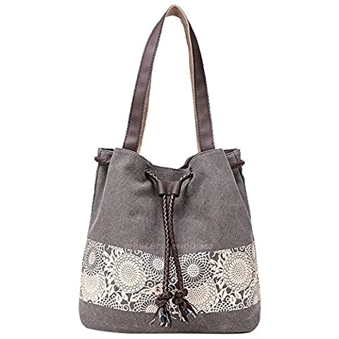 Wocharm Ladies Cotton Canvas Drawstring Shoulder Bag Totes Handbag Summer Beach Bag Women Hobo Shoulder Bag Bohemian Style Messenger Bag (Grey)