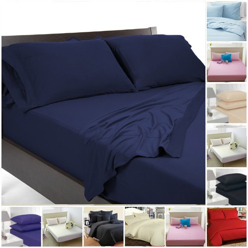 Highliving Flat sheets Percale Plain Dyed Poly Cotton Single Double King size (Single, Navy)