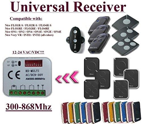 Universal Empfänger kompatibel mit Nice 433,92Mhz Flor-S, Flore, On, One, Inti, VR Fernbedienung Fernsteuerung. Rolling-code Kanal 300mhz-868mhz. Rolling/Fixed code 12-24VAC/DC Receiver. (Sektionaltore Zubehör)