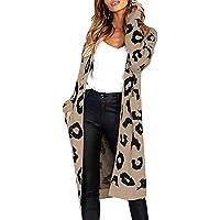 ODOKEI Cardigan Donna Cardigan Elegante Maglione Lungo a Maniche Lunghe Leopardo per Autunno Giacca Lungo Irregolare…