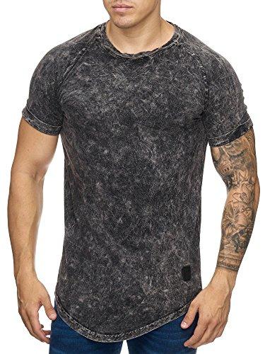 Cabin Oversize Herren Vintage Rundhals T-Shirt Washed Basic Verwaschen Anthrazit