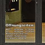 Öffnungszeiten-Aufkleber Inhaber Wunschtext Aufkleber Blitzservice von Pegatina Promotion® Aufkleber mit Verklebehilfe von Pegatina Promotion®