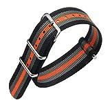 24mm schwarz / grau / orange luxuriöses Militär strapazierfähiges Nylon NATO-Stil Uhrenarmbänder Bänder Ersatz für Männer