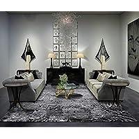 Al Salem Carpet Colorado Polyster polyproplene Carpet Dinning Room Rectangle 150 CM X 230 CM 8.45KG Grey-Black Modern